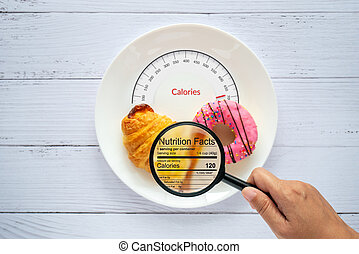 Calories counting, food control and consumer nutrition facts label concept. doughnut and croissant on white plate with tongue scales for Calories measuring and magnifying glass zoom for nutrition fact
