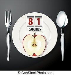 Calories in Apple  - Vector of Calories in Apple