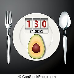 Calories in Avocado  - Vector of Calories in Avocado