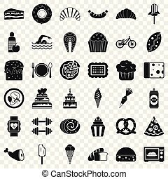 Calories in food icons set. Simple style of 36 calories in food vector icons for web for any design