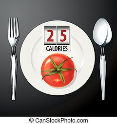 Calories in Tomato  - Vector of Calories in Tomato