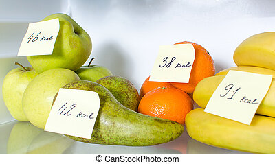 calories, ouvert, marqué, fruits, frigidaire plein