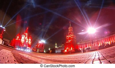Calottes of Kremlin stands in light on festival CIRCLE OF LIGHT