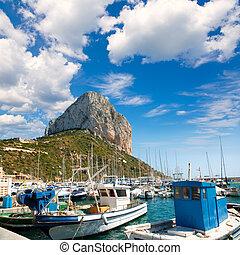 Calpe Alicante marina boats with Penon de Ifach