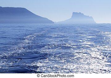 Calpe Ifach Peñon view from Mediterranean Altea blue fog sea