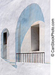 Calpe. Mediterranean Spanish coastal city historic old town center. Tradicional house detail.
