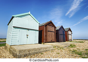 Colorful Beach huts at Calshot on the Solent near Southampton in Hampshire