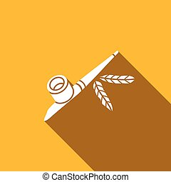 Calumet icon. Vector Illustration - smoking pipe of the...