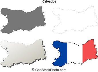 calvados, niższy, normandy, szkic, mapa, komplet