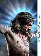 calvary, イエス・キリスト, 人, 出血, 代表, の, 情熱, ∥で∥, 青いライト, ハロー