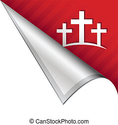 Calgary Christian crosses icon on vector peeled corner tab suitable for use in print, on websites, or in advertising materials.