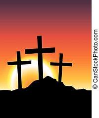 calvary, cruces, en, salida del sol, ilustración
