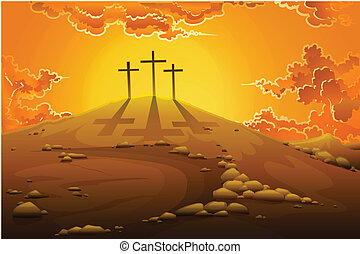 Calvary Crucifixion - easy to edit vector illustration of...