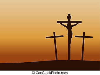 calvary crucifixion on sunset time, important happen in Christianity history