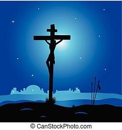 Easter calvary scene with cross in dark night. Crucifixion of Jesus Christ. Vector Illustration.