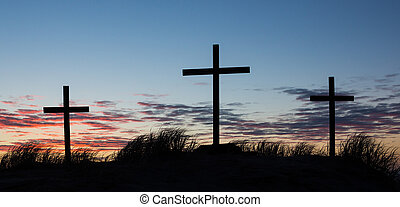 Calvary Hill - Three crosses on a hill with a wonderful...