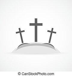 Calvary icon. Vector illustration. - Gray Calvary icon with...