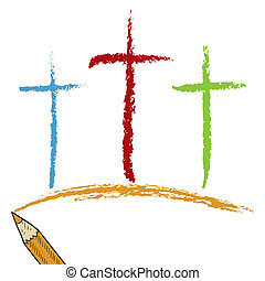 calvary, lápiz, coloreado, cruces