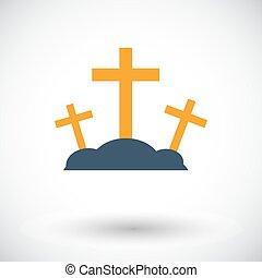 Calvary single icon. - Calvary. Single flat icon on white...