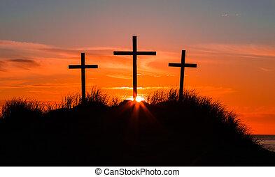 Calvary Sundown Dune - Three Crosses on a sand dune with the...