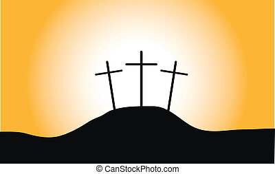 Calvary, an illustration of the crucifixion. Vector