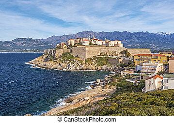 Calvi Citadel seen from Revellata Peninsula in Corsica - ...