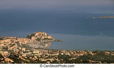 Calvi port and citadel, Corsica - Port, harbour, town and...