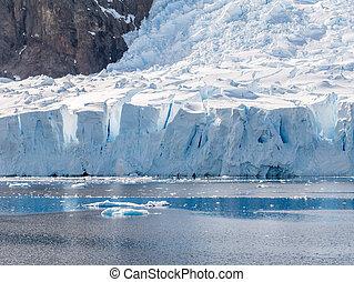 calving, porto, geleira, península, andvord, arctowski, antártica, deville, neko, baía
