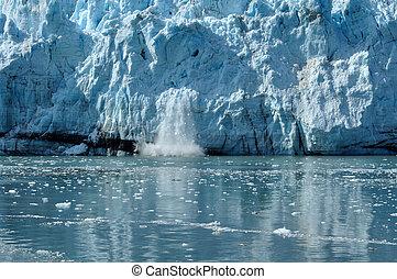 calving, tidewater, margerie, glaciär, alaska