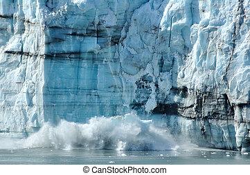 calving, tidewater, margerie, gletscher, alaska