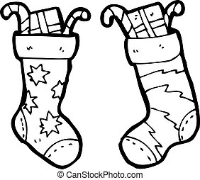 calze, cartone animato, natale