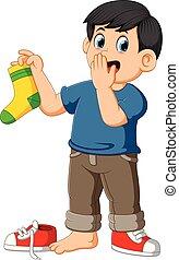 calzino, dita, maleodorante, titolo portafoglio naso, prese, uomo