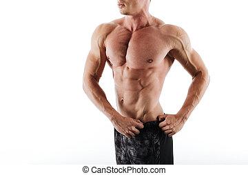 calzoncillos, foto, cauccasian, joven, muscular, negro, cortado, hombre