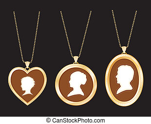 camée, famille, or, lockets
