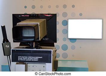 caméra télévision, studio, retro, soffits