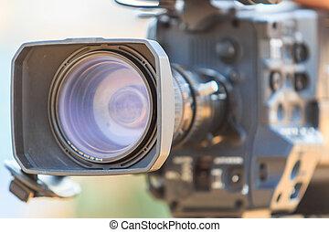 caméscope, appareil photo, vidéo, lentille