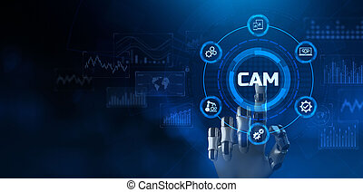 CAM computer aided manufacturing engineering system smart technology concept.