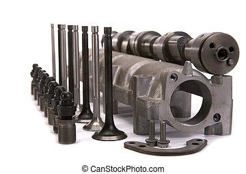 cam-shaft, av, den, motor, in, samling