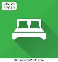 cama, ícone, em, apartamento, style., sono, quarto, vetorial, ilustração, com, longo, shadow., relaxe, sofá, negócio, concept.