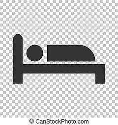 cama, ícone, em, apartamento, style., sono, quarto, vetorial, ilustração, ligado, isolado, experiência., relaxe, sofá, negócio, concept.