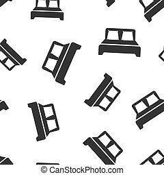cama, ícone, seamless, padrão, experiência., sono, quarto, vetorial, illustration., relaxe, sofá, símbolo, pattern.