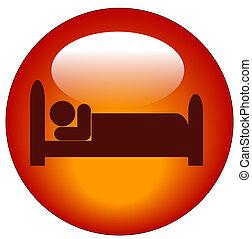 cama abajo, persona, icono, acostado, rojo