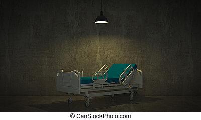 cama del hospital, en un cuarto