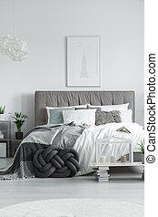 cama, doble, elegante