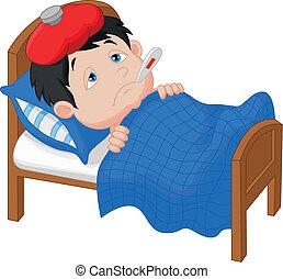 cama, doente, menino, mentindo, caricatura