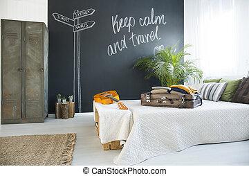 cama, en, cómodo, dormitorio