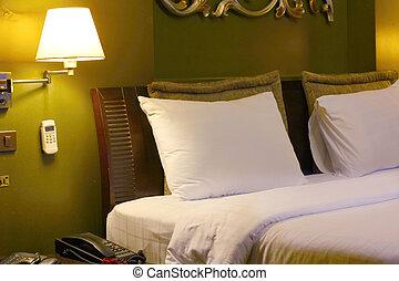 cama, en, habitación