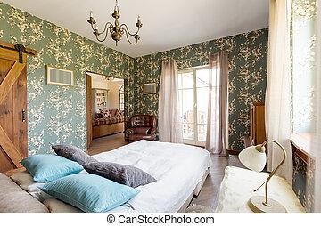 cama, en, rústico, elegante, dormitorio