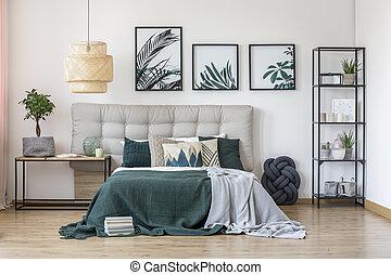 cama, estante, entre, tabla