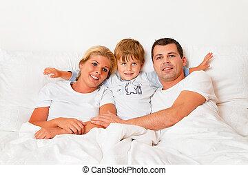 cama, família, manhã